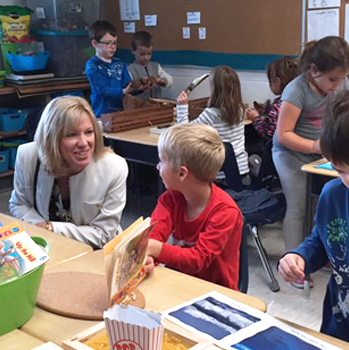Director of Education Debra Rantz visiting one of our elementary schools.