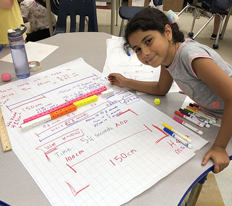 Girl smiling next to the math problems she solved